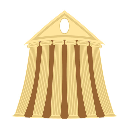 greek column: Greek temple of cartoon style on a white background. Vector illustration.