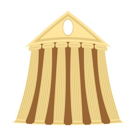 arte greca: Tempio greco di stile cartone animato su uno sfondo bianco. Illustrazione vettoriale. Vettoriali