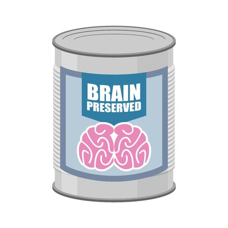 brainstem: Canned brains. Tin with brain. Vector illustration food for mind Illustration
