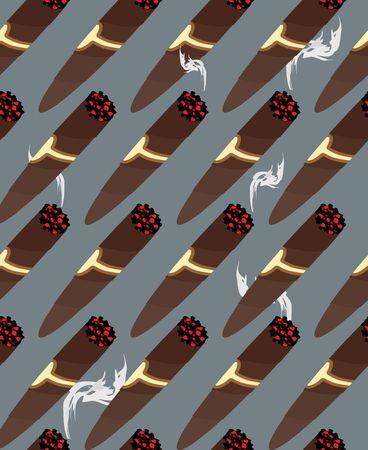 havana cigar: Cigar seamless pattern. Background of Cuban cigars and smoke.