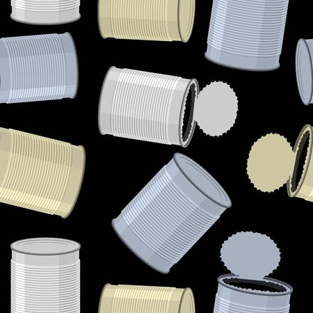 tin: Cans trash vector background. Seamless pattern Tin