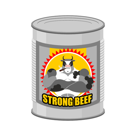 canned meat: canned meat beef. Canned food from a serious and strong cow. Steel Bank stew. Vector illustration of canned meat.
