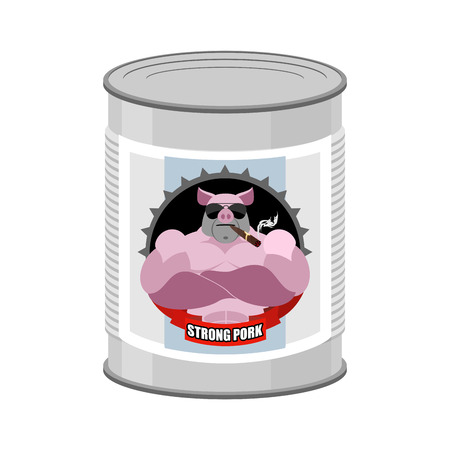 canned meat: Canned pork. Canned food from a serious and strong pig. Steel Bank stew. Vector illustration of canned meat. Illustration