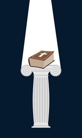 doric: Bible is pedestal in dark. Divine light illuminates a thick book. Gift of heaven. Vector illustration