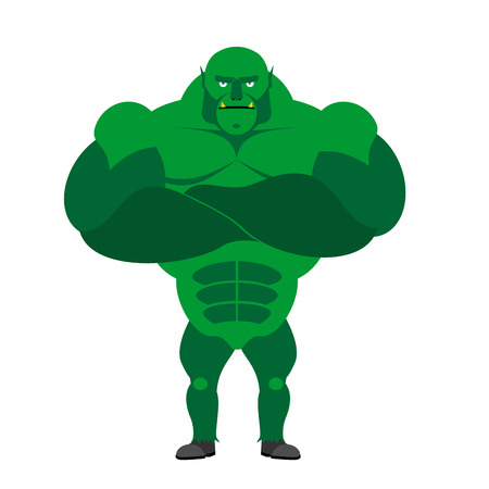 goblins: Monster BODYBUILDER on a white background. Monster with big muscles.