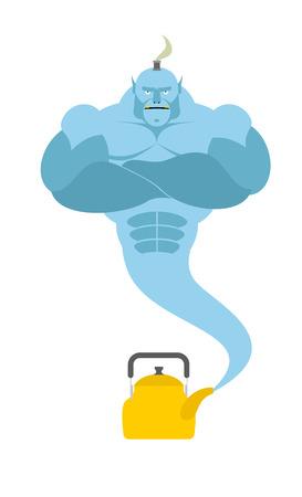 djinn: Genie from kettle. Blue Magic spirit fulfills desires. Vector illustration