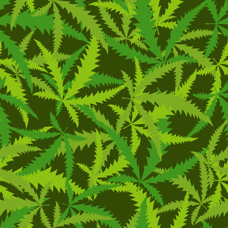 narcotic: Cannabis leafs seamless pattern. Vector background of narcotic plants Illustration