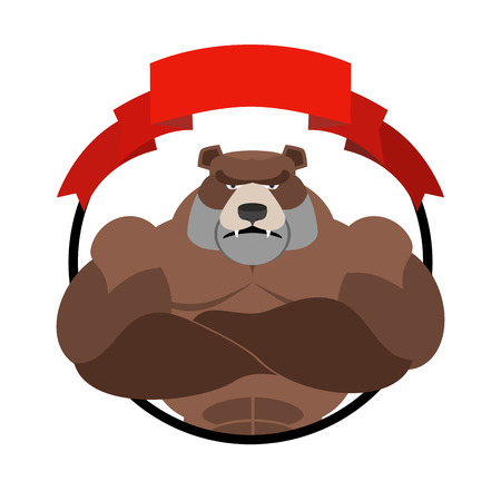 angry bear: Angry bear athlete Round emblem. Large wild animal. Vector logo animal with big muscles. Logo for sports club team