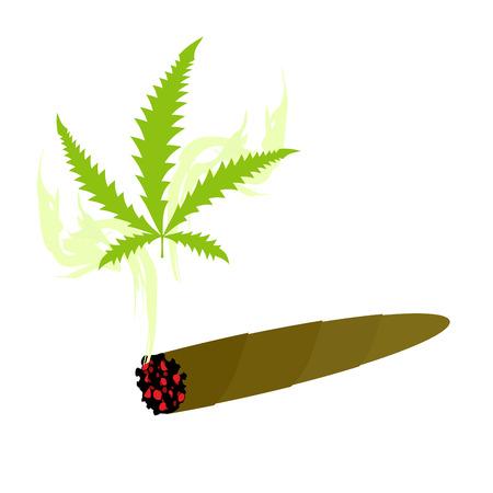 Cigarette with marijuana. Knabis sheet and smoke drug. Vector illustration