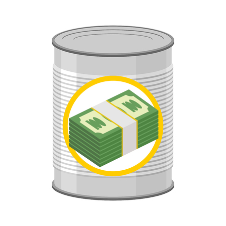 hereafter: Money in a Tin. Canned cash. Dollars for hereafter. Vector illustration Illustration