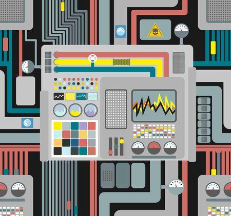 Productiesysteem. Control Panel naadloos patroon. Achtergrond van draden en sensoren en apparaten. Vector illustratie van de high-tech productie. Industrial vectorornament