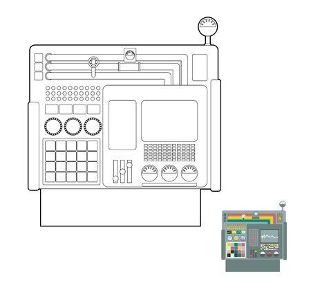 sensores: sistema de control. Panel System Center para la producci�n. Grupo Industrial. Botones y pantallas y sensores. Vector libro para colorear