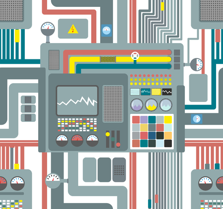 parallel: Seamless pattern control system. Technological background. Vector ornament factory machines.