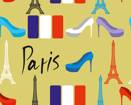 women's shoes: Paris seamless pattern. Flag of France and Eiffel Tower. Womens shoes. Fabric texture