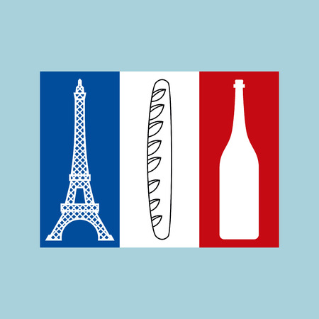French tricolor Flag of national features of country: Eiffel Tower, baguette and bottle of wine. Traditional symbols of France. Paris landmark