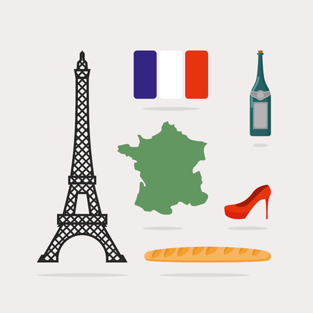 Icons symbols of France. Eiffel Tower and map country. Baguette and bottle of wine. French flag and red beautiful shoes. National characteristics of Paris.