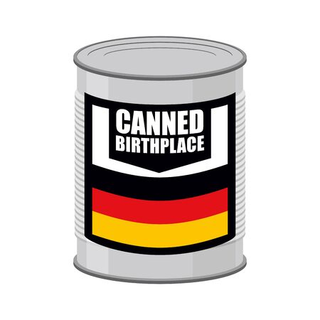 german food: Canned birthplace. Patriotic Preserved birthplace. Part of motherland in Tin. Preserved land for emigrants from Germany. Food for refugees in alien territory. German flag on  label Illustration