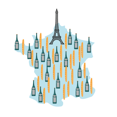 french wine: Map of France with Eiffel Tower in Paris. National French food: baguette and French wine. Landmarks in Europe. Architectural Cultural Monument of  country. Bread and alcohol. Funny tourist map