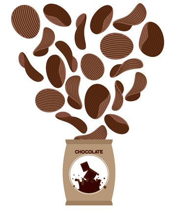 sweet tooth: Chocolate chips. Unusual snacks for sweet tooth. Fly Brown chips out of  Pack. Delicacy for sweet lovers Illustration