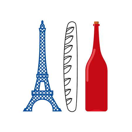 emblematic: France flag of tourist attractions in ountry:  Eiffel Tower, crisp baguette and bottle of French wine. Emblematic French flag country. Illustration