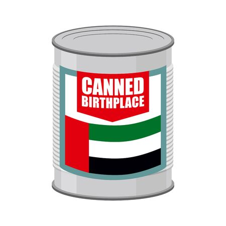 tincan: Canned birthplace. Patriotic Preserved birthplace. Part of motherland in Tin. Preserved land for emigrants from UAE. Food for refugees in alien territory. Flag Of  United Arab Emirates on label
