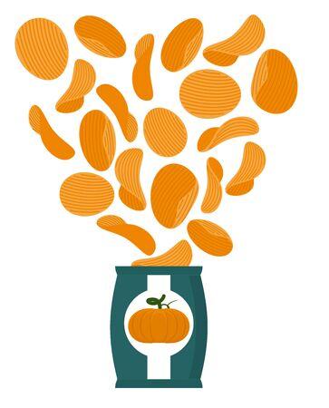 vegetarians: Pumpkin chips. Packaging of snacks. Bundles of chips fly. Vegetable Orange chips. Food for vegetarians