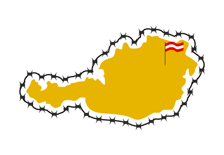 barb wire: Map Of Austria. Country closes  border against refugees. Map of States with barbed wire. European country protects its borders.  Austrian Flag. Surrounded by perimeter fence Illustration