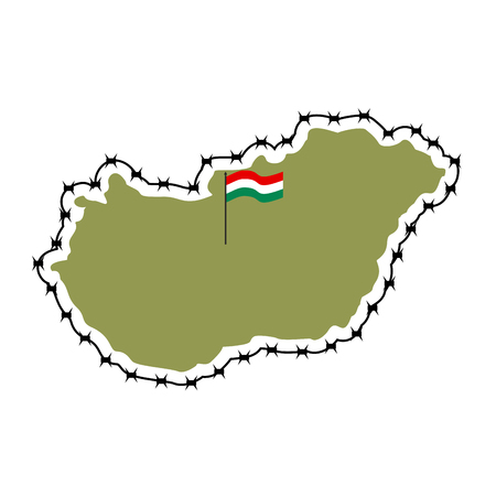 razor wire: Map of Hungary. Country closes  border against refugees. Map of States with barbed wire. European country protects its borders. Hungarian Flag. Surrounded by perimeter fence