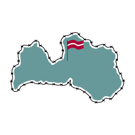 perimeter: Map Of Latvia. Country closes border against refugees. Map of States with barbed wire. European country protects its borders.  Latvian Flag. Surrounded by perimeter fence