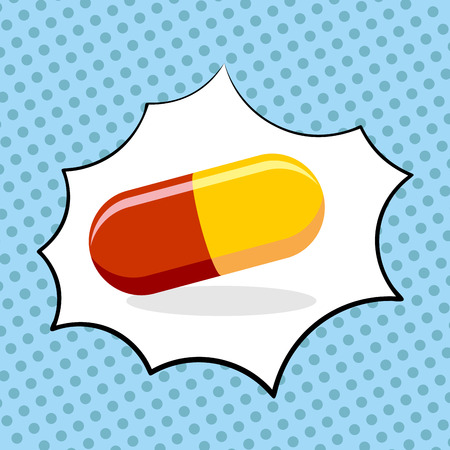 Medicine pill pop art. Medicinal drugs. Vector illustration