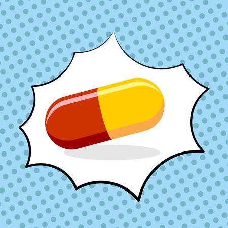 Medicine pill pop art. Medicinal drugs. Vector illustration