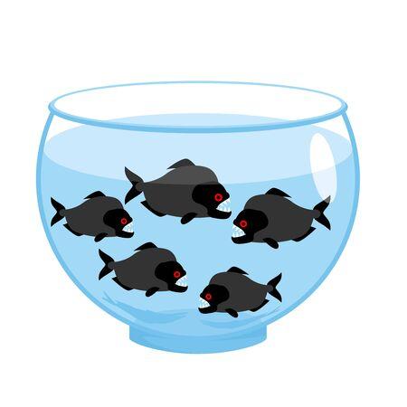 dangerous: Aquarium with piranhas. Dangerous evil toothy fish. Scary Aquarium Illustration