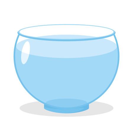 Aquarium with water. Transparent glass tank for fish content. Vector Empty Aquarium Illustration