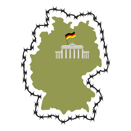 perimeter: Map Of Germany. Map of States with barbed wire. Country closes border against refugees. European country protects its borders. German flag. Surrounded by  perimeter fence Illustration