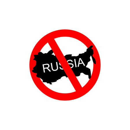 banned: Russia banned. Stop Russian aggressors. Red forbidding sign for Russian countries. Ban for Russians.