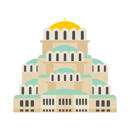 Church Of St. Alexander Nevsky. Patriarchal Cathedral Cathedral Bulgarian Orthodox Church. It is located in Sofia, Bulgaria. landmark Bulgaria Illustration