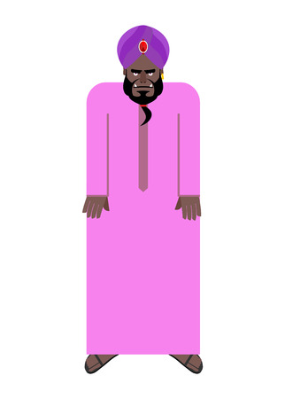 robe: Sheikh in  national Arab robe and turban. Vector illustration of an oriental man on white background.