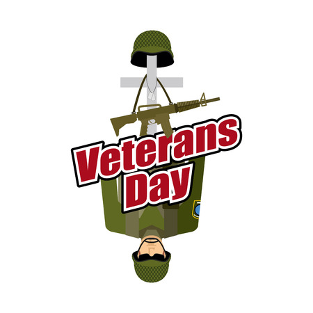 heros: Veterans Day. US Army soldier and war heros grave. Cross and soldiers helmet. Illustration for patriotic celebration of America. Illustration
