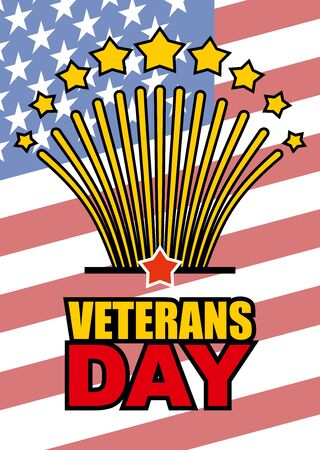 honoring: Veterans Day. Salute honoring American heroes on  background of USA  flag. Vector illustration of patriotic national holiday United States