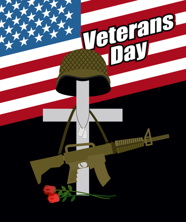 Day of remembrance for war veterans. Veterans Day. Cross with  soldiers helmet and  machine gun. Fallen soldiers grave with flowers. Day of mourning and memory. National holiday in America. Stock Vector - 45882771