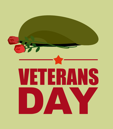 green beret: Soldiers green beret and flowers. Veterans Day. Vector illustration of patriotic national holiday USA