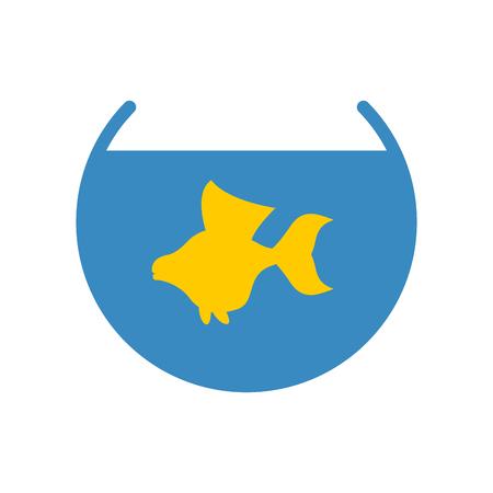 gold fish bowl: Goldfish in an aquarium vector icon. Yellow fish fulfills desires. Illustration