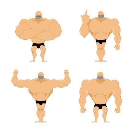 musculo: Conjunto de hombres fuertes. Chicos sanos con los músculos grandes. Los culturistas en diferentes poses. Modelos de la aptitud. Atleta de gran alcance grande. Vectores