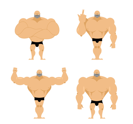 arm muscles: Set of strong men. Healthy guys with big muscles. Bodybuilders in different poses. Fitness models. Big powerful Athlete.