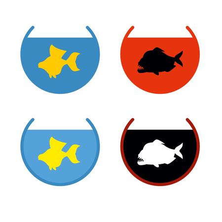 pez pecera: Conjunto de peces de acuario. Goldfish en un acuario. Fish Cumple deseos. Pira�a en acuario. Pescado mal asustadizo con grandes dientes. Marina Predator. Vectores
