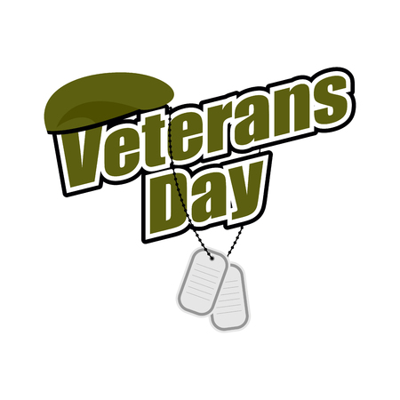 green beret: Veterans Day. Text with army token and green beret soldier. National symbols of  American holiday.