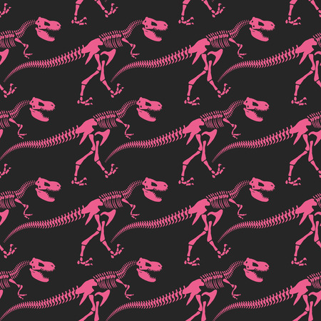 Jurassic dinosaur bones seamless pattern. Tyrannosaurus skeleton pink. Ancient fossil ornament. Vector background of Archeology.