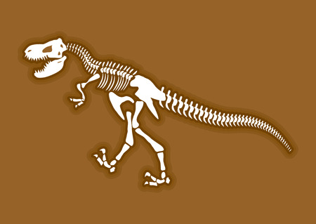 dinosaurs: Dinosaur skeleton. Ancient animal bones in ground. Fossil Tyrannosaurus. archaeological excavations. Prehistoric monster