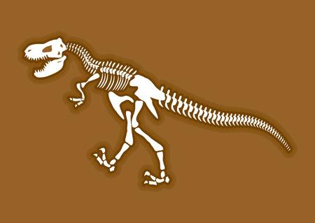 Dinosaur skeleton. Ancient animal bones in ground. Fossil Tyrannosaurus. archaeological excavations. Prehistoric monster