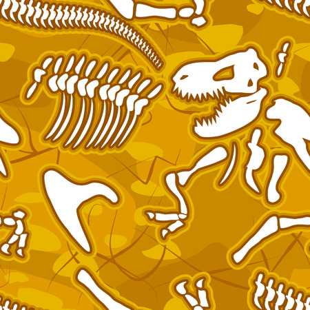 Dinosaur bones seamless background. Pattern of skeleton of ancient animals. Vector ornament fossil Tyrannosaurus Rex. Bones of the Mesozoic period, sand and Earth.